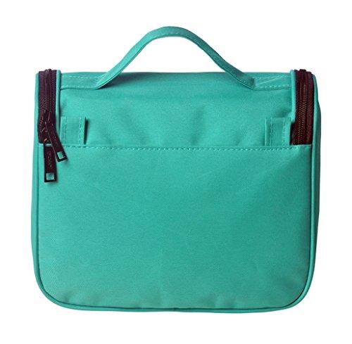 LYCEEM Women Girls Flower Hanging Travel Toiletry Bag Cosmetic Case (Green)