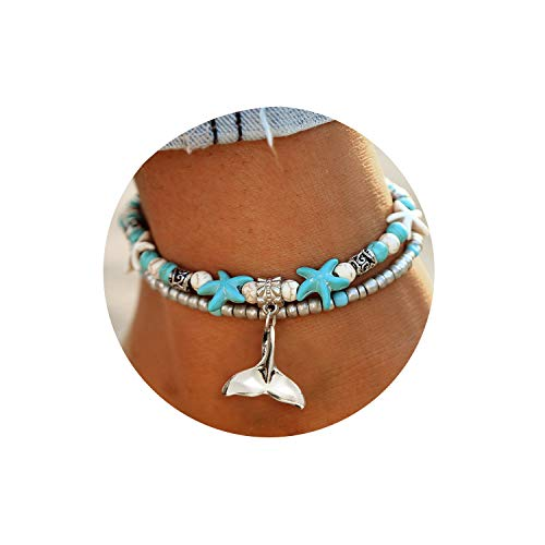 Starfish Turtle Anklets Multiple Layered Boho Gold Chain Anklet Mermaid Tail Heart Beach Rhinestone Turquoise Stone Charm Anklet (Charm Gold Dolphins Bracelet)