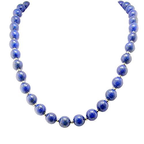 Joyful Creations 10mm Blue Lapis Stone Gold-Plated Sterling Silver Necklace, 18