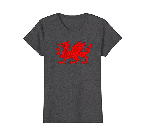 Womens Wales Dragon Flag T-shirt Welsh Retro Medium Dark Heather Ladies Welsh Dragon