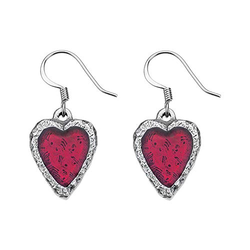 (DANFORTH - Heart/Crimson Earrings - 3/4 Inch - Pewter - Surgical Steel Wires - Handcrafted - Made in USA)