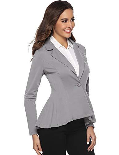 Fit lunga Blazer Aibrou da giacca Manica da Elegante Slim grigio Casual Button Giacca Business da Tailor bavero sera donna zqpfBw