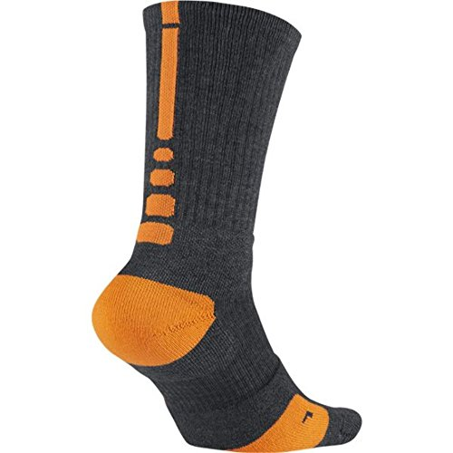 ketball Crew Socks Large (Size 8-12) Charcoal, Orange ()