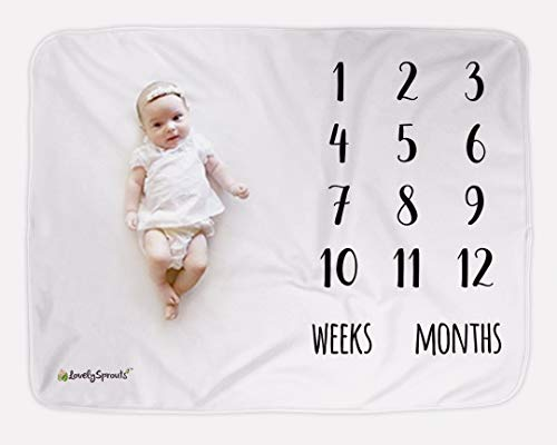 "LovelySprouts Premium Fleece Monthly Milestone Blanket | Will Not Wrinkle or Fade Like Muslin Blankets | Large 60"" x 40"" Size 