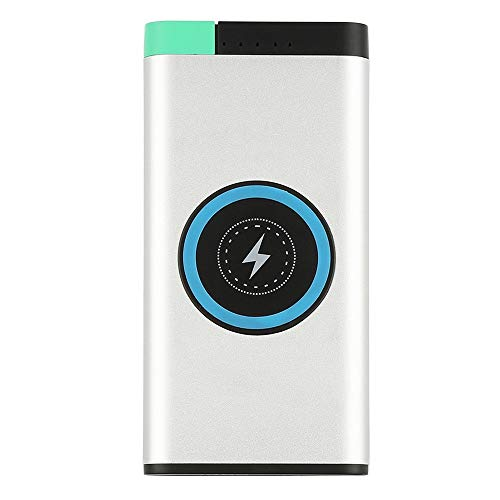 Livoty 10000mAh Power Bank Qi Wireless Fast Charging USB LED Portable Battery Charger (White)