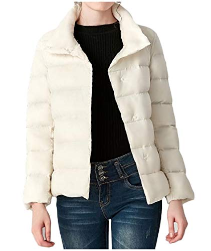 Short Puffer Jacket EnergyWomen Stand Off Collar Warm Commute White Skinny Down Thick Style 64qg4nwSO