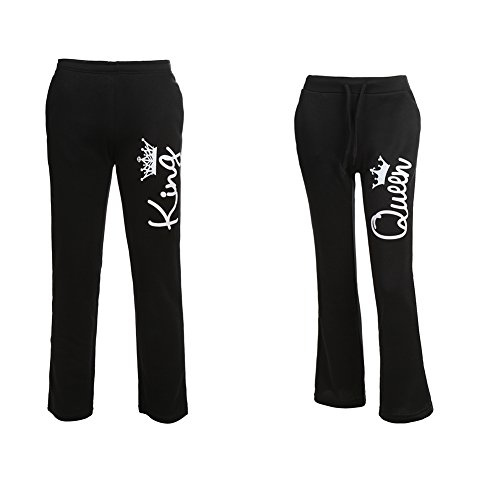 YJQ Matching Couple King Queen Drawstring Sweatpants Casual Pants Black/Pants Men L + Women S by YJQ