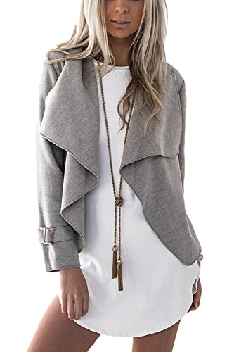Veste Coat Waterfall Casual Manteau Grey Lapel Femmes Blazer YACUN 4xpnZw