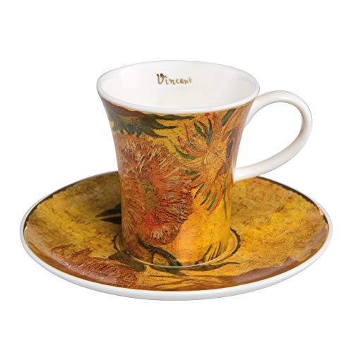 (Vincent Van Gogh Sunflowers II Espresso Set Cup and Saucer 8cm by Goebel 67011541)