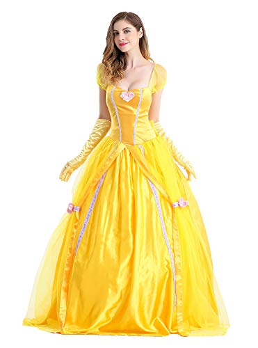 Qubskry Princess Beauty Costume for Women, Girl Princess Belle Dress up Ball Gown, Halloween Costume Adult