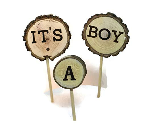 It's a Boy Cake Topper Rustic Woodland Baby Shower, Forest Baby boy Shower