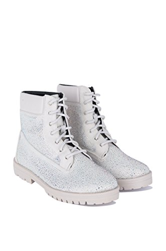 CAPE ROBBIN Womens Diamonds Galore Lace Up Boots Silver 99LIApX