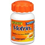 Motrin IB 200mg Ibuprofen, 225 Coated Caplets Per Bottle (12 Pack)