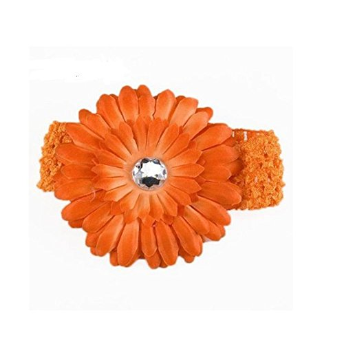 SBParts Girl Daisy Flower Elasticated Crochet Headband Hair Band -Orange