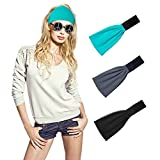 3 Packs Lightweight Yoga Headband Breathable Stretchy Sweat Band Anti-Slip Silica Gel Elastic Wide Bandana Sports Hair Headwraps for Man Woman