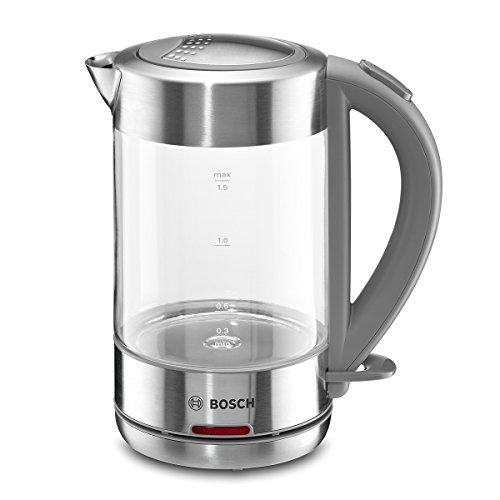 Bosch TWK7090 Glas Wasserkocher, 1-Tassen-Funktion, Dampfstopp-Automatik, entnehmen Kalkfilter, 2200 W, edelstahl / hellgrau