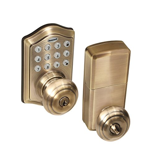 Honeywell Safes & Door Locks - 8732101 Electronic Entry Knob Door Lock, Antique Brass
