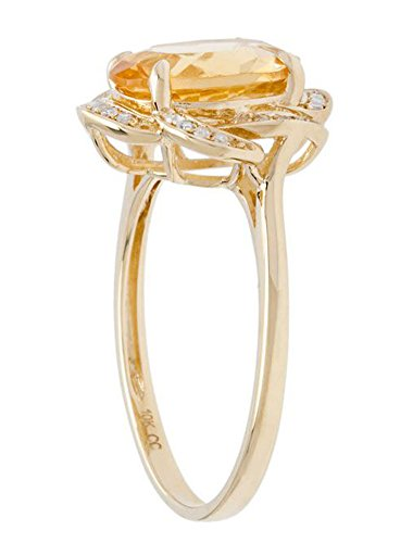 10k Yellow Gold 2.0ct Oval Citrine and Flower Halo Diamond Ring (1/10 cttw)
