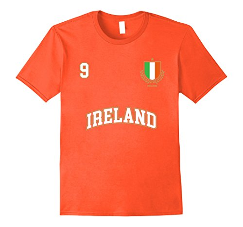 Orange Irish Flag (Mens Ireland Shirt Number 9 Soccer Team Sports Irish Flag Large Orange)