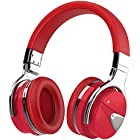 Active Noise Cancelling Headphone Bluetooth Headphones with Microphone, Stereo Wireless Headset with Microphone & Comfortable Earpads & 12 Hours Playtime & Wireless Headphones for Cellphone (Red 2)