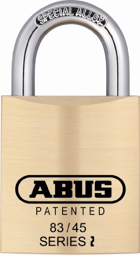 ABUS 83/45-300 S2 Schlage 45mm All Weather Solid Brass Rekeyable Padlock with 1 Inch Shackle, Zero-Bitted