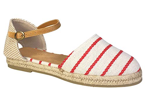 (BAMBOO Women's Open Shank Round Toe Espadrilles Flat with Ankle Strap, Red Stripe Canvas, 8.0 B (M) US)