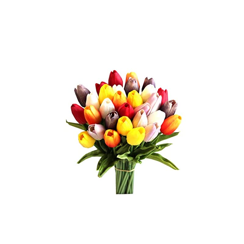 silk flower arrangements mandy's 28pcs multicolor artificial latex tulips for party home wedding decoration