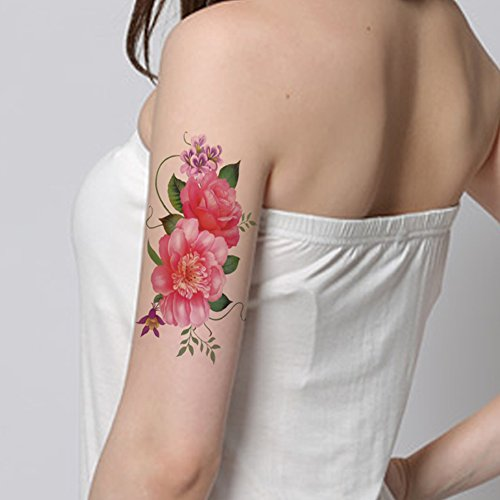 TAFLY Beautiful Pink Flowers Fake Temp Tatoo Sticker for Women Waterproof Body Tattoo 5 Sheets -