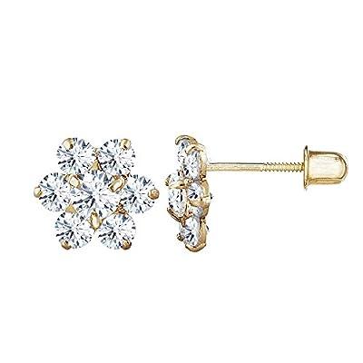 14kt Solid Gold Kids Flower Stud Screwback Earrings from Stephanie Rockway