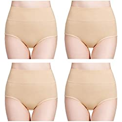 wirarpa Women's Cotton Underwear Panties High Waisted Full Briefs 4 Pack Ladies No Muffin Top Underpants Beige Size 7, Large