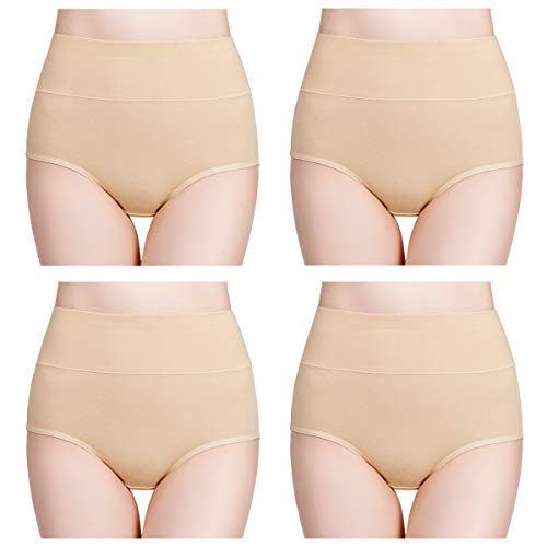 wirarpa Women's Cotton Stretch Underwear 4 Pack High Waisted Briefs Panties Full Coverage No Muffin Top Underpants Beige, Size 9