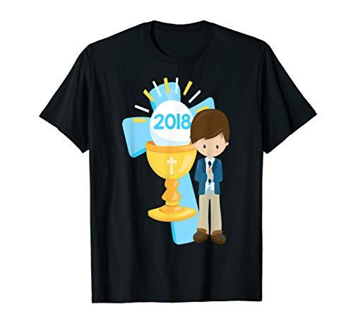 First Communion Shirt 2018 Gift Kid Brown Hair Boy Son Cross