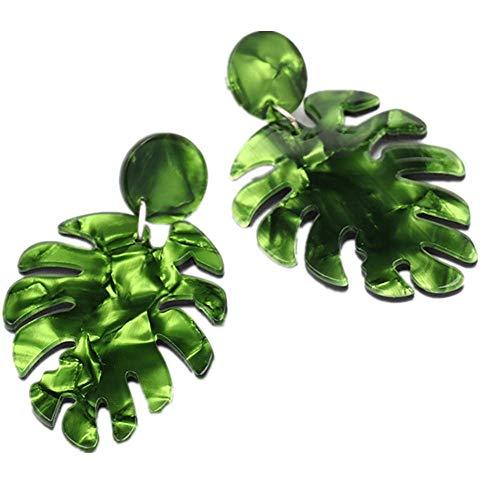 Leono Acrylic Earrings Christmas Leaf Multi-layer Drop Dangle Earrings Bohemian Statement Green Stud Earrings for Women 1Pair
