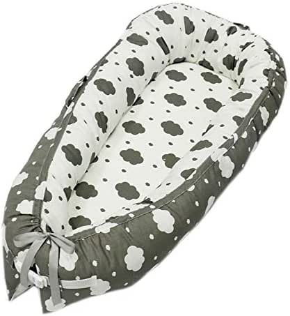 Abreeze Baby Lounger Portable Super Soft and Breathable Newborn Infant Bassinet Newborn Cocoon Snuggle Bed Grey Clouds Co-Sleeping Baby Bed
