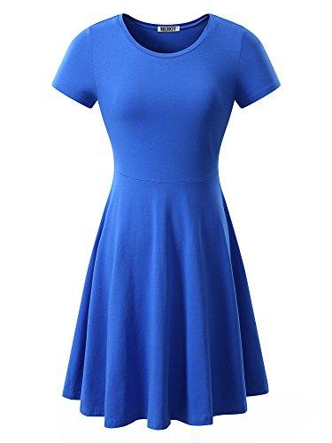 Women Short Sleeve Round Neck Summer Casual Flared Midi Dress Medium Blue