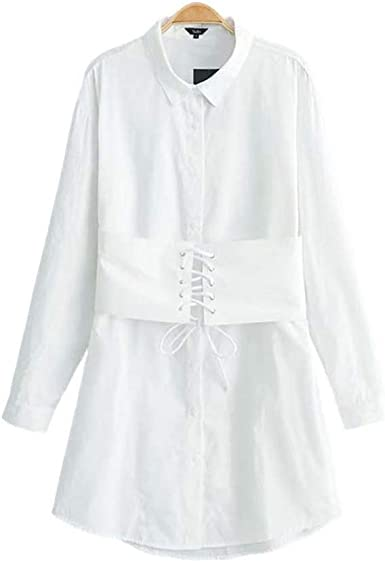 YBINYNA QB072 Vestido de Camisa Blanca con Tiras de Encaje de Manga Larga para Oficina, Vestido, Casual, Cuello de plumón - Blanco - Small: Amazon.es: Ropa y accesorios
