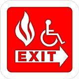 Handicap Exit Fire LABEL DECAL STICKER 12 in x 12 in