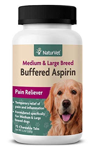 NaturVet - Buffered Aspirin - 75 Chewable Tablets - Provides Temporary Relief from Pain & Inflammation - Medium & Large Breed