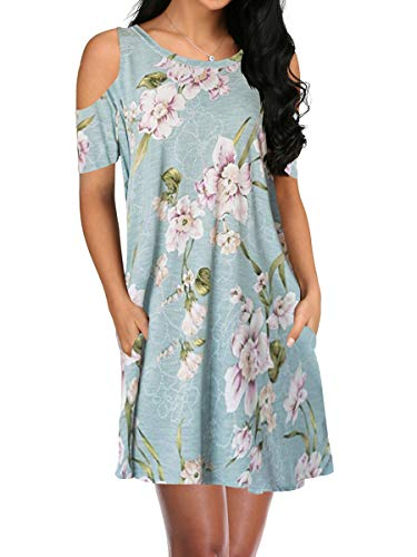 (OFEEFAN Womens Cold Shoulder Summer Sundress Swing Dress with Pockets Morningglory L)
