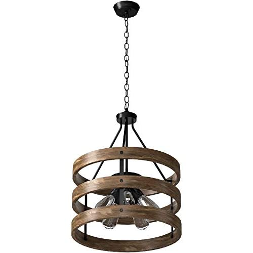 Image of Anmytek C0014 Metal and Circular Wood Chandelier Pendant Five Oil Brown Finishing Retro Vintage Industrial Rustic Ceiling Lamp Light Home and Kitchen