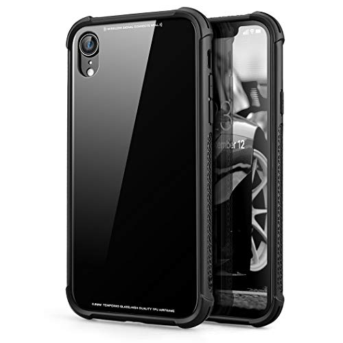 Phone Case Compatible iPhone xR, Tempered Glass Back Cover and Soft Silicone Rubber Bumper Frame Shock Absorption Anti-Scratch Support Wireless Charging Compatible iPhone xR
