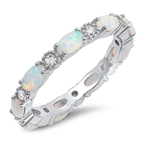 Clear CZ Oval White Simulated Opal Ring Sterling Silver Stackable Love Band Size 7