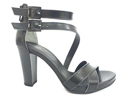 17580 NERO Scarpa donna sandalo tacco Nero Giardini pelle made in italy