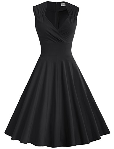 60s Women (MUXXN Women's 50s 60s Vintage Sexy V-neck Swing Dress(M,Black))
