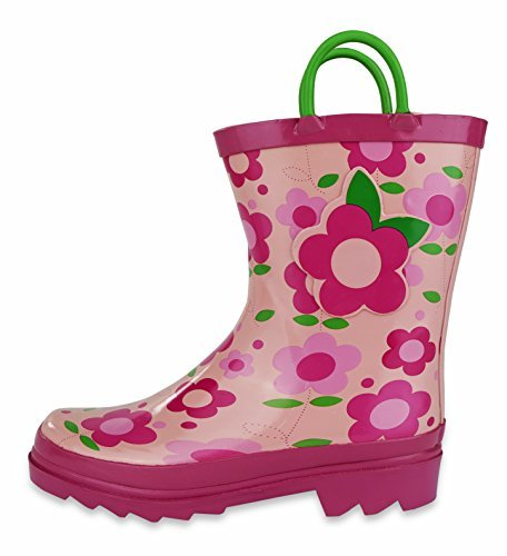 Pictures of Little Girl's Pink Flower Rain Boots Sizes 11/12 10.5 M US Little Kid 4