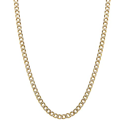 Bee Jewels Men's 14k Two-Tone Gold 3.5mm Hollow Cuban Curb White Pave Chain Necklace - Curb Chain Necklace Pave 180
