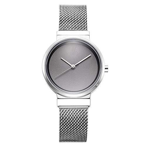 BEWITCHYU Practical Wristwatches Women 's Girl Ultra-Thin 9Mm Quartz Watch 30Mm Stainless Steel Mesh Belt Simple Fashion Waterproof Decorative Watch BraceletSilver