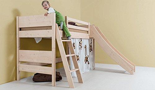 Kinder-Hochbett mit Rutsche - aus Fichte, Buche, Eiche, Zirbe 90x200 140x200 (Astfichte 90x200)