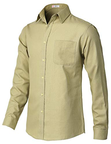 H2H Mens Casual Regular Fit Button-Down Shirts Oxford Long Sleeve Basic Designed Beige US M/Asia L (KMTSTL565) ()