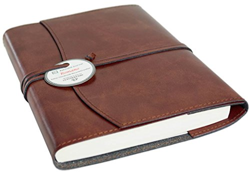 Romano Large Chestnut Handmade Recycled Leather Wrap Refillable Journal (21cm x 15cm x 2cm)